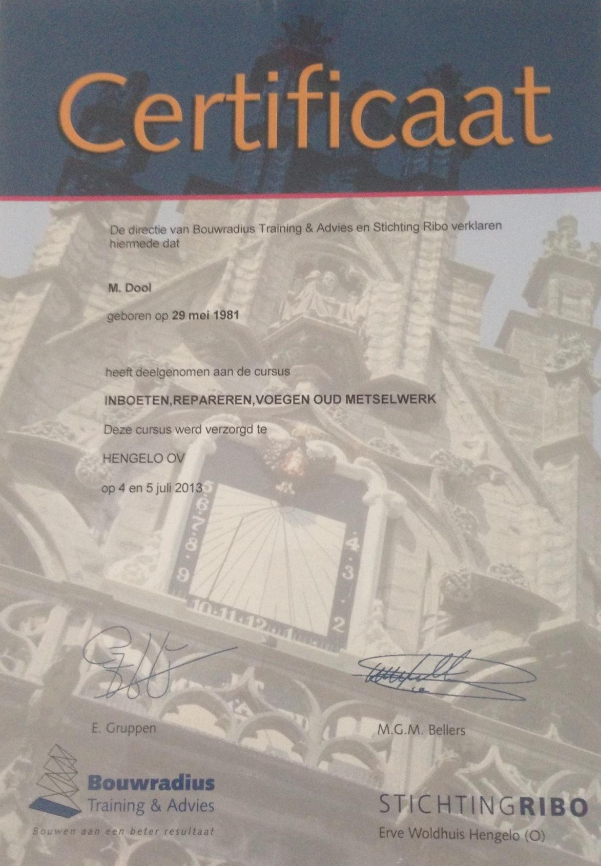 voegbedrijf-marvin_certificaat_RIBO_inboeten-repareren-voegen-metselwerk